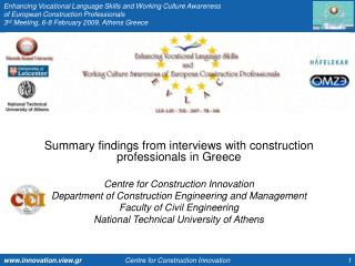Summary findings from interviews with construction professionals in Greece