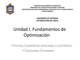 Unidad I. Fundamentos de Optimización