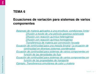 TEMA 6 Ecuaciones de variación para sistemas de varios componentes