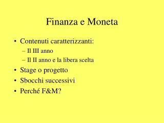 Finanza e Moneta