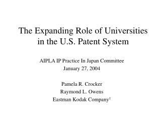 The Expanding Role of Universities in the U.S. Patent System