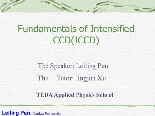 Fundamentals of Intensified CCDICCD