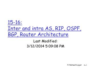 15-16:  Inter and intra AS, RIP, OSPF, BGP, Router Architecture
