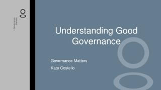 Understanding Good Governance