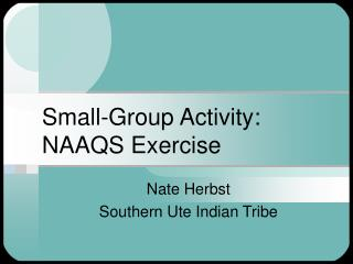 Small-Group Activity: NAAQS Exercise