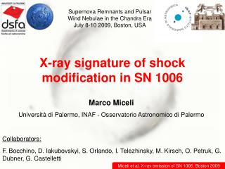 X-ray signature of shock modification in SN 1006
