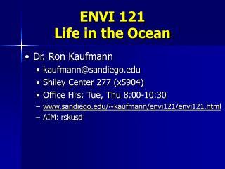 ENVI 121 Life in the Ocean