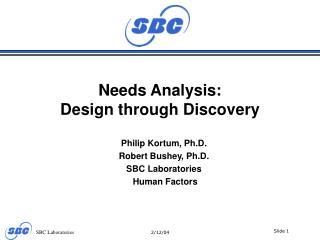 Needs Analysis: Design through Discovery