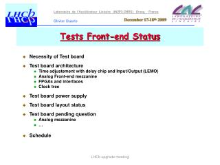 Tests Front-end Status