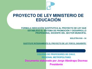 PROYECTO DE LEY MINISTERIO DE EDUCACIÓN