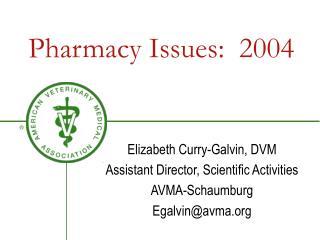 Pharmacy Issues:  2004