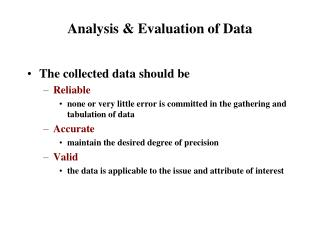 Analysis & Evaluation of Data