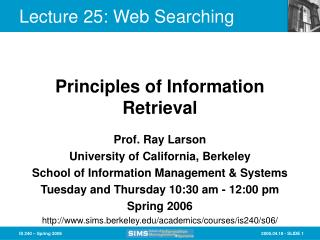 Lecture 25: Web Searching