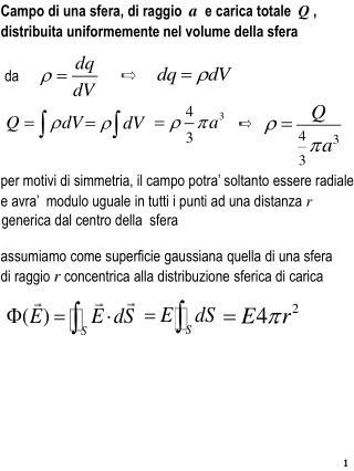 Campo  di una sfera ,  di raggio a   e  carica totale Q  ,
