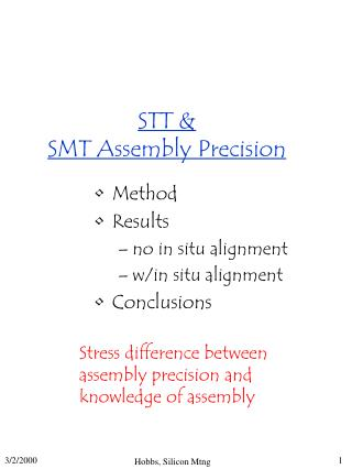 STT &  SMT Assembly Precision