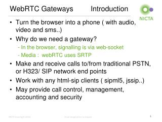 WebRTC  Gateways		Introduction