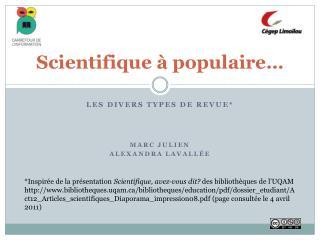 Scientifique à populaire…