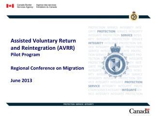 Assisted Voluntary Return and Reintegration (AVRR)  Pilot Program