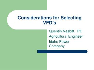 Considerations for Selecting VFD's