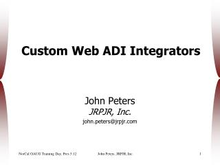 Custom Web ADI Integrators