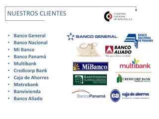 Banco General  Banco Nacional Mi Banco Banco Panamá Multibank Credicorp  Bank Caja de  Ahorros