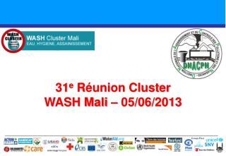 31 e  Réunion Cluster  WASH Mali – 05/06/2013