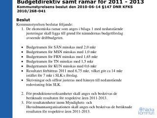 Statsbidrag till Nacka Kommun (mkr)