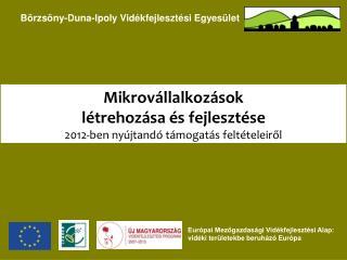 Mikrovállalkozások  létrehozása és fejlesztése 2012-ben nyújtandó támogatás feltételeiről
