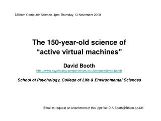 UBham Computer Science, 4pm Thursday 13 November 2008 The 150-year-old science of