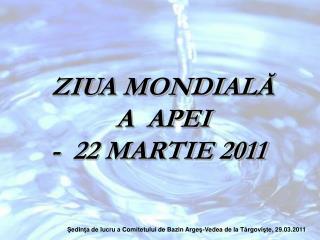 ZIUA MONDIAL Ă A  APEI   -  22 MARTIE 2011