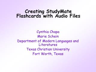 Creating StudyMate Flashcards with Audio Files