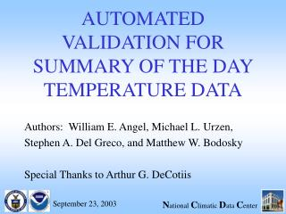 AUTOMATED VALIDATION FOR SUMMARY OF THE DAY TEMPERATURE DATA