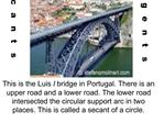 This is the Luis I bridge in Portugal. There is an upper road and a lower road. The lower road intersected the circular