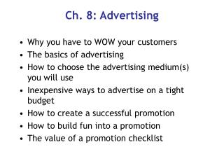 Ch. 8: Advertising