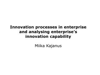 Typical innovation process?
