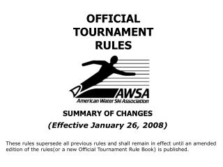 OFFICIAL TOURNAMENT RULES