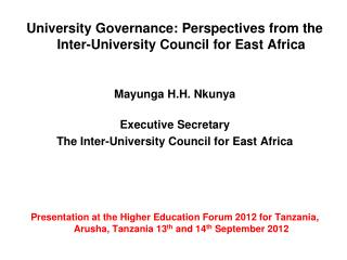 University Governance: Perspectives from the Inter-University Council for East Africa