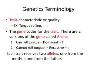 Genetics Terminology