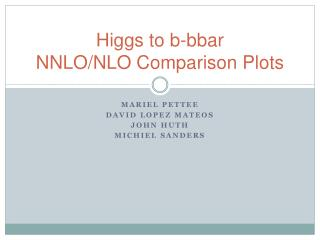 Higgs to  b-bbar NNLO/NLO Comparison Plots