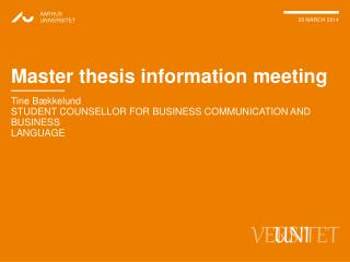 Master thesis information meeting