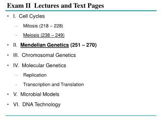 Exam II  Lectures and Text Pages
