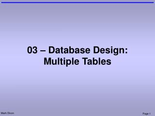 03 – Database Design: Multiple Tables
