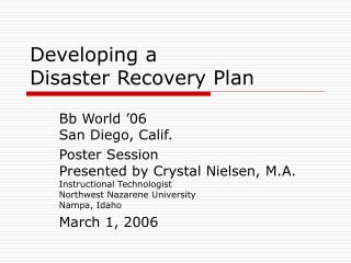 Developing a  Disaster Recovery Plan