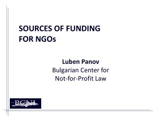 SOURCES OF FUNDING  FOR NGOs