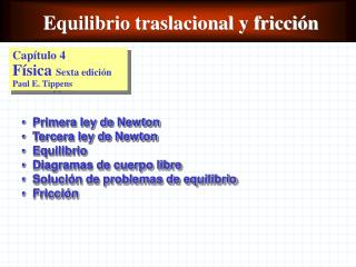 Equilibrio traslacional y fricción