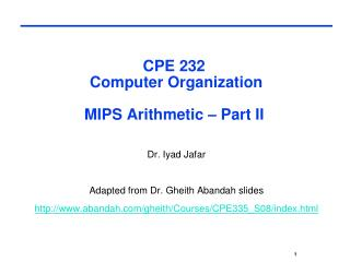 CPE 232  Computer Organization MIPS Arithmetic – Part II