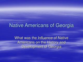 Native Americans of Georgia