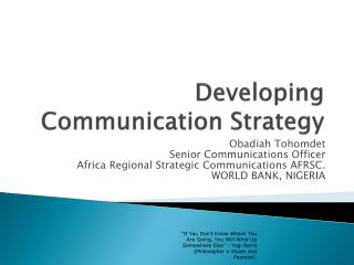 Developing Communication Strategy
