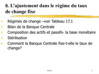 6.  L'ajustement dans le régime du taux de change fixe