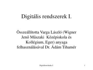 Digitális rendszerek I.